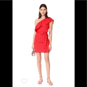 Milly red cotton poplin one shoulder dress NWT